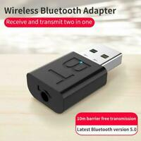 USB Bluetooth 5.0 Audio Adapter Transmitter Receiver AUX For TV/PC Speaker O0X5