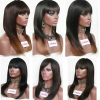 Women Medium Brazilian Black Ombre Straight Natural Wig Hair Cosplay Full Wigs