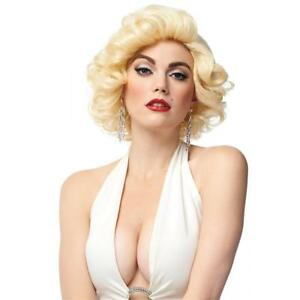 50's-60's Style Dxl Blonde Bombshell Short Curly Marilyn Look Synthetic Hair Wig