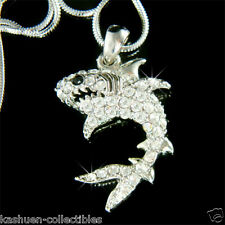 w Swarovski Crystal Ocean Beach Sea ~WHITE SHARK~ wildlife JAWS Pendant Necklace