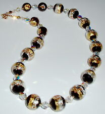 24K Sparkling Golds and Black Striped Murano Glass and Crystal Necklace