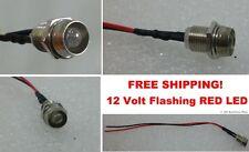 12v Volt Flashing RED LED Light Fake Dummy Alternating Car Alarm Chrome Bezel