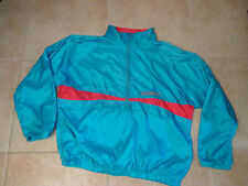 VINTAGE NEW BALANCE XL ZIP-UP WINDBREAKER JACKET TEAL/NEON RED 90s PRE-OWNED