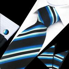 Mens Black Blue White Stripe Silk Work Tie Handkerchief Hanky Cufflinks GIFT SET