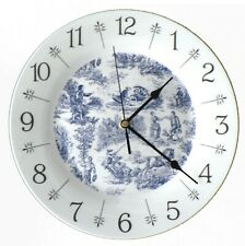 """Blue toille de jouy design 10.5"""" large ceramic  wall clock - gift  boxed"""