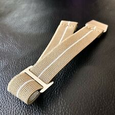New No Pass, Diver Elastic Watch Strap Band Belt in 22mm - Khaki with White