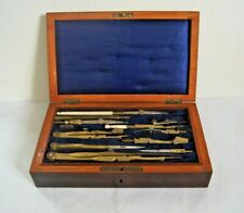 More details for antique set of technical drawing instruments in rosewood box