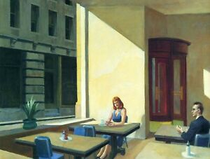 EDWARD HOPPER sunlights in cafe  canvas print 12 x16 inch stretched over frame