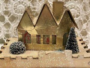 Vintage Christmas Putz House Gold Mica Glitter Bottle Brush Trees Decoration