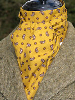 Self tie Mustard & Brown Small Paisley Cotton Riding Stock - Hunting Showing Tie