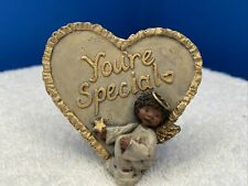 """Sarah's Attic Heart """"You're Special"""" Black African American Angel Desk Decor"""