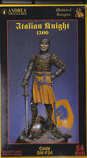 ANDREA MINIATURES SM-F24 - ITALIAN KNIGHT 1300 - 54mm WHITE METAL