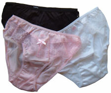 Ladies Knickers Pack 3, UK Size 14-16 Sheer Frilly Lacy 18661 Vintage Pink Black