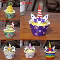 12PC Unicorn Cupcake Wrappers + 12PC Unicorn Toppers Baby shower Birthday Decor
