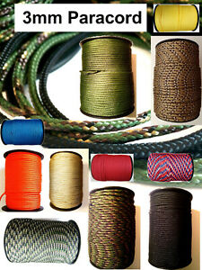 PARACORD flat rope string line 3mm 3 poly synthetic sailing lanyard cord UK