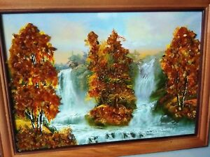 Amber Genuine Picture Birches Near Two Waterfalls Wooden Pine Frame VG2023