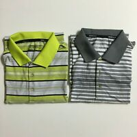 Lot of 2 NIKE Golf Tour Performance Men's S Gray Yellow Athletic Polo Shirts
