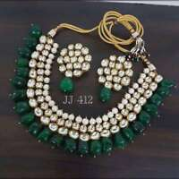 Indian Kundan Green Beaded Bollywood Latest Necklace Earring Women Jewelry Set