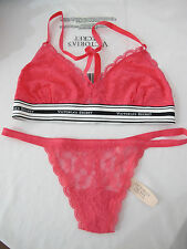 NEW Victoria's Secret Guava Logo Band Lace Bralette + V-String Panty S
