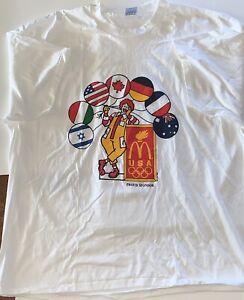 NOS Vintage 1984 Olympics Ronald McDONALD Sponsor T Shirt FLAG Balloons RARE XXL