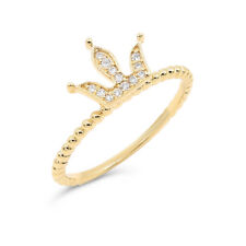 Diamond Crown Queen Right Hand Band Ring 18K Rose White Or Yellow Gold Pave