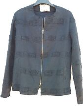 By Walid Black Cotton Quilted/Woven/Crochet Dual Zip Front Jacket-Med-EUC