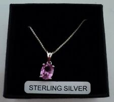 Brand New Sterling Silver Necklace with Pink Gemstone. Boxed.
