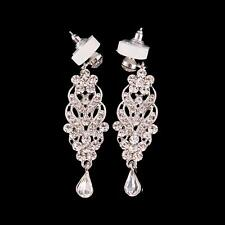 Wedding Crystal Cluster Teardrop Earring Rhinestone Chandelier Bridal Earrings