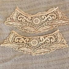 Fine Antique Victorian Handmade Net Embroidered Lace Pair Collar/Cuffs/Dolls