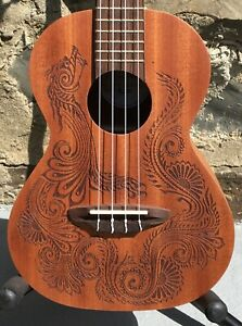 Luna Henna Dragon Mahogany Acoustic / Electric Tenor Ukulele