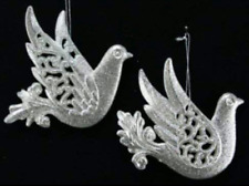 Set of 2 Gisela Graham Silver Lustre Glitter Dove Hanging Christmas Decorations