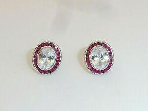 Ladies Art Deco Halo Style 925 Sterling Silver Ruby & White Sapphire Earrings