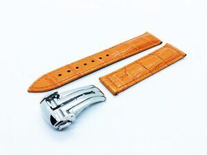 Orange 22mm Genuine Leather Strap/Band fit Omega SeaMaster/PlanetOcean Watch