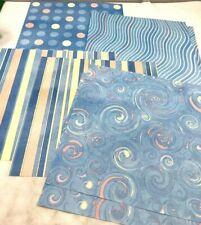 Set of 7 blue 12 x 12 scrapbook paper acid lignin free craft greeting