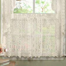 Hopewell Heavy Floral Lace Kitchen Window Curtain 36 x 58 Tier