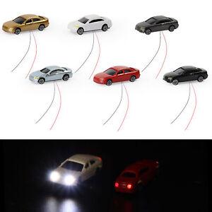 12pcs Z N scale 1:220 Head Lighted Model Car Model Trains Layout 12V EC200