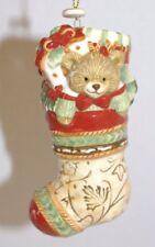 2012 Fitz & Floyd Bountiful Holiday Teddy Bear and Doll Stocking Ornament in Box