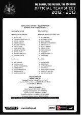 Teamsheet - Newcastle United v Southampton 2012/13