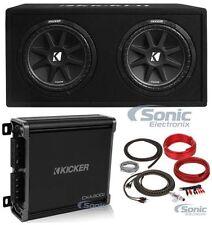 "New! KICKER 43DC122 600W 12"" Vented Box Car Subwoofers Enclosure+MonoAmp+Amp Kit"