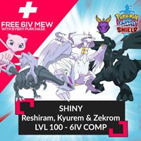 ✨SHINY✨ 6IV RESHIRAM KYUREM AND ZEKROM W/ FREE MEW Pokemon Sword Shield