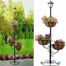 More details for 3 tier solar powered garden outdoor stylish flower planter with white led light