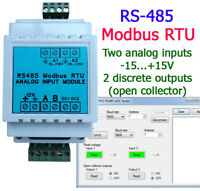 Analog Input Module Modbus RTU RS485 ADC (DIN, 2 Inputs -15...+15V, 2 Outputs)