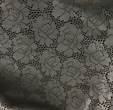 Laser Cut FLORAL BLACK Lambskin Leather Piece #25 5x8""
