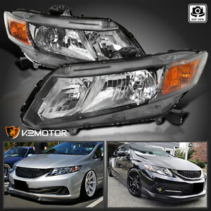 2012-2013 Honda Civic 2Dr Coupe Driver and Passenger Side ALS Headlight Assembly Replacement for 2012-2015 Honda Civic 4Dr Sedan Chrome