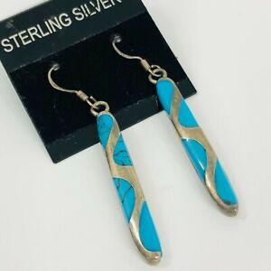 Sterling Silver Dangle Earrings Turquoise Blue Stone Pierced Hook