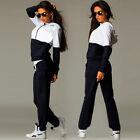 2pcs Femme Mélange survêtement Sweat-shirt à capuche pantalon ensemble sport