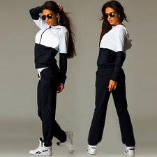Womens Ladies 2Pcs Tracksuit Hoodies Sweatshirt Pants Set Sport Wear Casual Suit