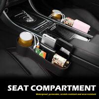 PU Leather Car Seat Gap Storage Box Crevice Organizer Pocket Dual USB Cup Holder
