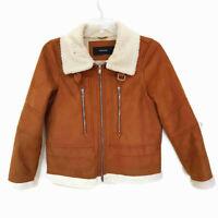 Womens Tan Faux Suede Shearling Biker Aviator Trucker Jacket Coat Sz L UK 14