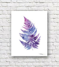 Purple Fern Abstract Watercolor Painting Art Print by Artist DJ Rogers
